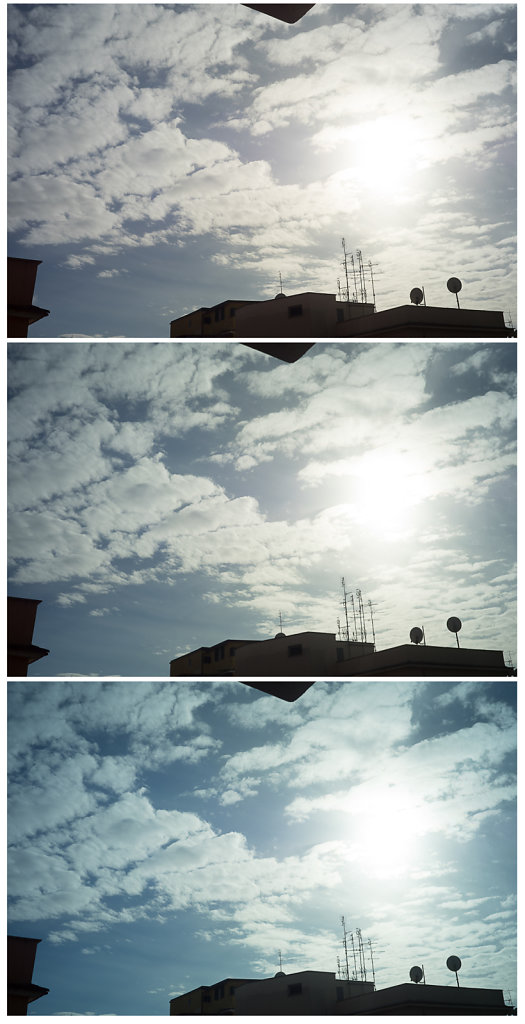 Lens flare and vignetting - Top to bottom: no filter, ND8, ND64